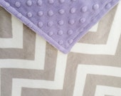 "28x36"" Double Minky Chevron in Silver Grey with Lavender Minky Dot Ready to Ship Travel Blanket too"