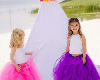 FULL LENGTH Tutu Skirt - Full Length Tutu - Pink Tutu Skirt - Full Length Flower Girl Tutu - Kids Tutu Skirt