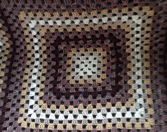 Cotton granny square afghan throw 120 x 120cm Hippie Boho Gypsy Brown Tan shades