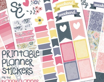Printable Planner Stickers, Planner stickers, Happy Planner, Ombre Checklist, Planner Printables, Planner Prints, Checklist flags