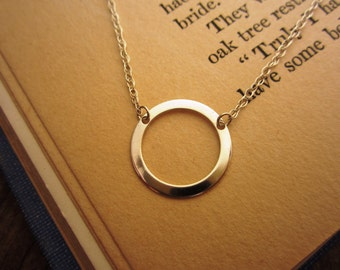Pure Sterling Silver Circle Pendant on Sterling Silver Chain Necklace - womens