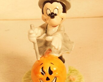 Vintage-Schmid- Minnie Mouse Witch-With A Pumpkin-Halloween Decor-Ceramic- With box