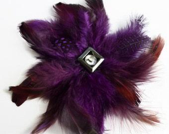 Feather brooch pin, purple brooch, purple pin, costume brooch,  brooches UK.