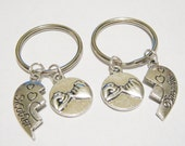 2 Pinky Promise Mother Daughter Heart  Keychain