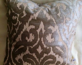 Single Elegant-20x20-Taupe Velvet on Off-white-Accent Pillow Cover-Decorative Pillow-Free shipping