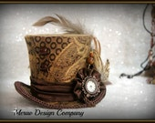 Mini Top Hat Brown Gold,Steampunk Accessories, Women Headpiece, Bridal Hat, Party Hat, Mad Hatter, Working Clock, Victorian READY TO SHIP