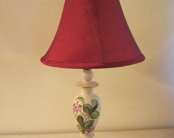 Vintage Floral Porcelain Table Lamp / Hand Painted / Signed Soph / Floral / Brass Base/Shade/ Country/  Art Nouveau / French / Hand Painted