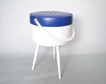 Original retro Mid Century sewing storage white  blue box / basket tripod with handle  1960's