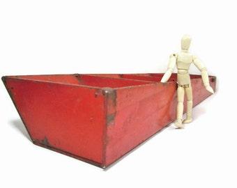 Metal Divided Parts Bin Red Steel Parts Tray Industrial Salvage