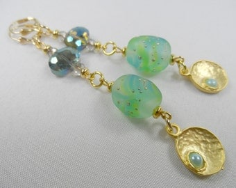 """Green and Gold Lampwork with Crystals and 22K Pearl Beaded Charms - 3.5"""" length"""