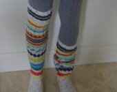 Extra long hand knitted socks in tweed and Fair Isle