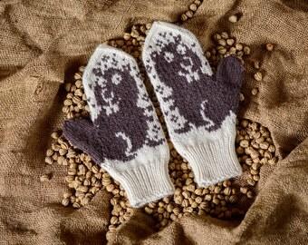 Beaver Mittens | Womens Mittens | Wool Mittens | Winter Accessories | Brown Mittens