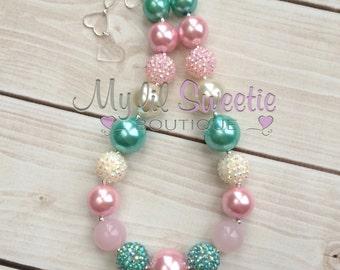 Pink Mint ivory chunky necklace, girls jewelry, wedding jewelry, children's necklace, bubblegum jewelry, bubblegum necklace