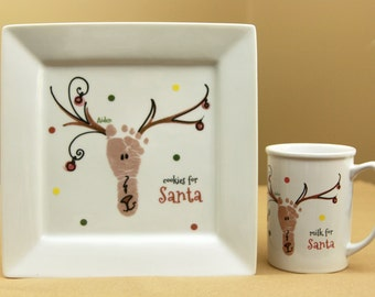 Family Layered Handprint Ceramic Keepsake Plates And