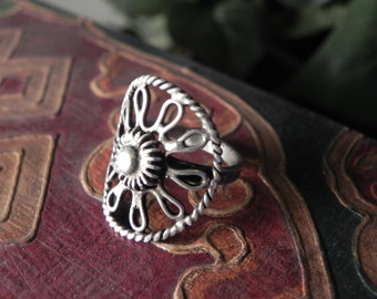 Wire Flower Ring Hmong tribal ethnic jewelry bohemian