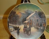 Vintage 1988  22 k gold Christmas plate Home for the Holiday collectible Series Plates