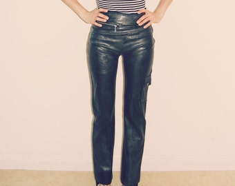 Vintage 90's Faux Leather Dark Grey Metallic Tight High Waist Bootcut Trousers Pants Minimal