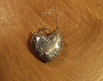 Vintage Sterling Silver Heart-Shaped Locket and Chain Pendant