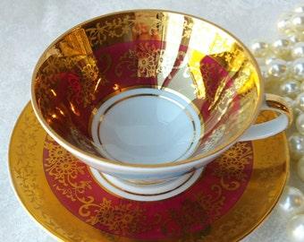Vintage China/ Demitasse Teacup and Saucer /Lusterware / German Souvenir TeaCup