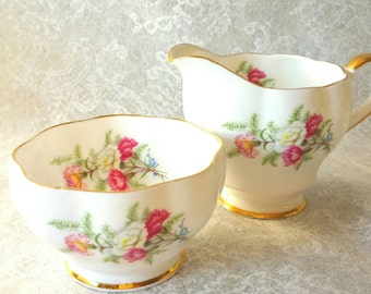 Vintage Queen Anne/Cream and Sugar Set / Beautful Floral Design / Tea Party / Shabby Elegance