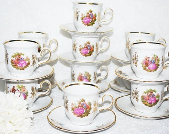 Demitasse Tea Party, Set of twelve Vintage Tea Cups and Saucers, Made In Bavaria, Instant Tea Party, Shabby Elegance