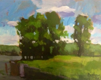 Stand of Trees.  9x12 acrylic on canvas.