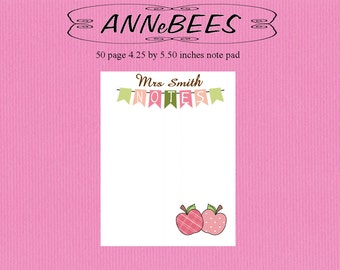 Personalized,Teacher, Notes, Apple, pink, green, gift, Notepad