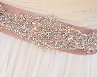 Vintage Inspired Beaded Bridal Sash-Wedding Sash In Tea Rose, Beaded Sash, Wedding Dress Sash, Bridal Belt, Custom colors