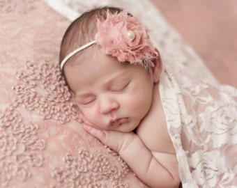 FREE SHIPPING! Antique Pink Headband, Pink Shabby Chic Headband, Newborn Headbands, Pink Baby Headbands, Pink Headbands, Photography Prop