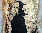 HALLOWEEN Witch Pillow, Tea Dyed Halloween, Shabby Witch Pillow, Halloween Decor!!