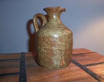 French Stoneware Pitcher Vase Rustic Vintage Handmade Jug