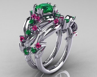 Nature Classic 14K White Gold 1.0 Ct Emerald Pink Sapphire Leaf and Vine Engagement Ring Wedding Band Set R340S-14KWGPSEM