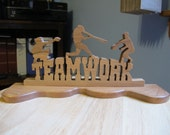 Teamwork Sports Slogan Hand Cut Wood Sign