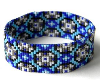 Blue loom beaded bracelet, bead loom bracelet, beaded cuff, beadwoven bracelet, hippie, boho