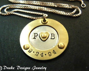 Anniversary gift for wife custom hand stamped personalized necklace initials anniversary date necklace for her