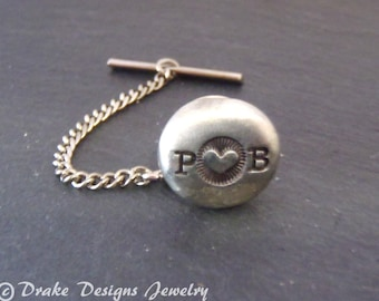 PERSONALIZED wedding tie tack Valentines gift for him custom tie pin