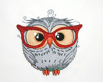 Baby Owl with Spectacles Embroidered Quilt Block