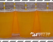 Yellow Birthday Party Cups-Halloween Party Cups-Party Cups Lids Straws-Popcorn Favor Cups
