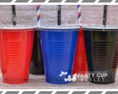 Super Hero Birthday Party Cups-Party Cups  Lids Straws