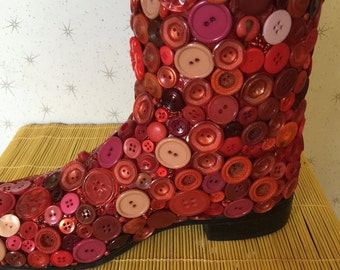 One-of-a-kind Red Cowboy Boot Vase, Bookend, Decor - Encrusted with buttons and beads