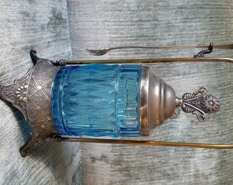 Victorian Era Aqua Glass And Silver Pickle Castor With Fork