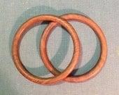 Pair of wooden bangle bracelets solid wood retro boho tribal hippie costume jewelry fashion accessory