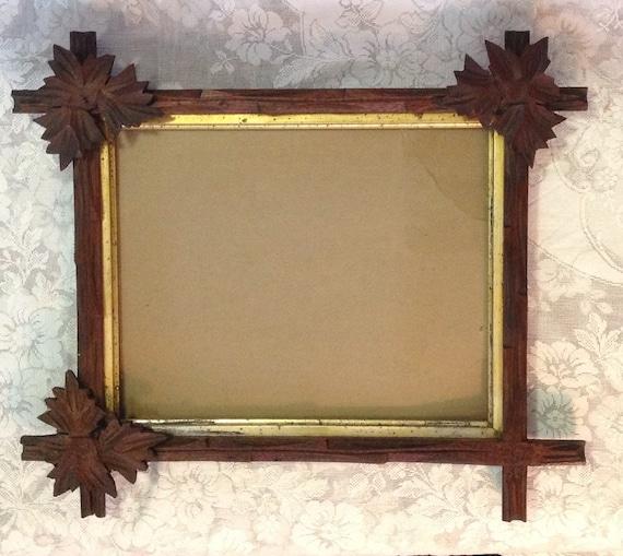 Antique Black Forest Carved Walnut Wood Picture Frame For