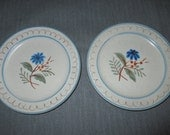 """Two 6-1/8"""" Stangl Pottery BLUE DAISY Bread & Butter Plates, Blue Flowers, ca. 1960s"""