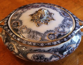 "Antique Flow Blue Royal Staffordshire ""Renown Blue"" Round Covered Serving Bowl, Collectible Flow Blue Bowl"