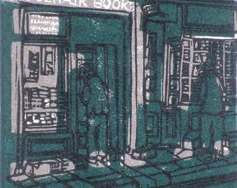 Contemporary art original multiblock linoprint 'Just A Second'