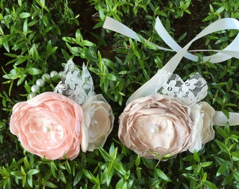 Fabric corsage, fabric flower corsage