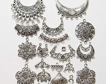 20 Different Antique Silver Jewelry Connectors, Great for all applications, all Very Nice
