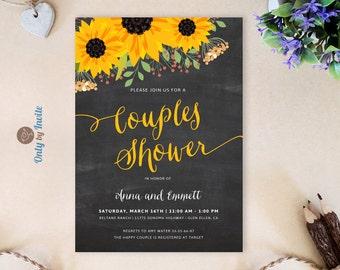 Couples shower invitation printed on premium paper | Sunflower wedding shower invitations | Cheap bridal shower invitations