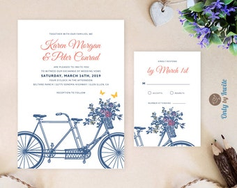 Printable tandem bicycle wedding invitation | Bicycle invite | Garden wedding invitation | Summer wedding invitation